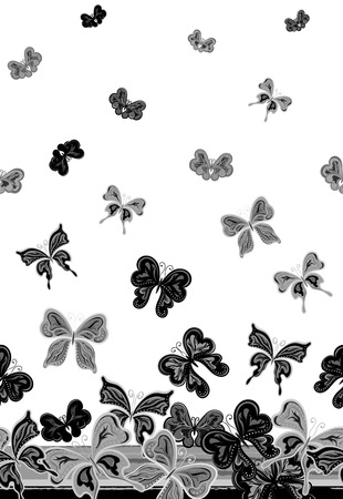 Vector vertical seamless pattern with hand drawing detailed colorful butterflies. Black gray on white background.