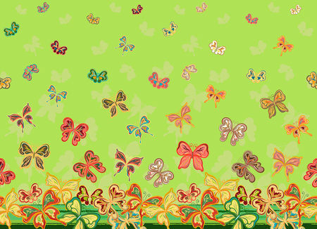 Vector vertical seamless pattern with hand drawing detailed colorful butterflies. Фото со стока
