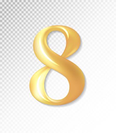 Vector 3d matt golden number collection - eight, 8 . Eps 10 using mesh.