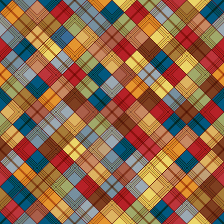 Seamless tartan pattern. Checkered colorful brown texture for clothing fabric prints and home textile.