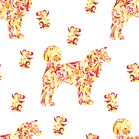 Seamless pattern with dogs on  style. Chinese New Year Symbol, 2018 Year of Dog background. Vector. Ilustração