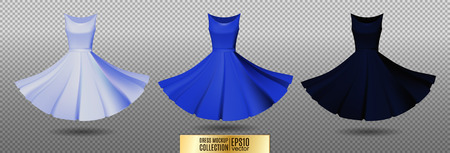 Womens dress mockup collection. Dress with long pleated skirt. Realistic vector illustration. Fully editable handmade mesh. Festive dress without sleeves. Light, bright and dark blue variation.