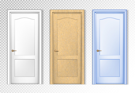 Collection doors isolated on white. White, wooden and colored. Realistic vector design.