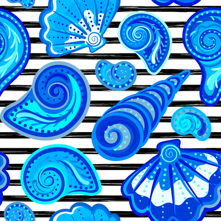 Vector seamless pattern of seashells on striped background. Hand drawn vintage engraved illustration of ocean underwater animals.