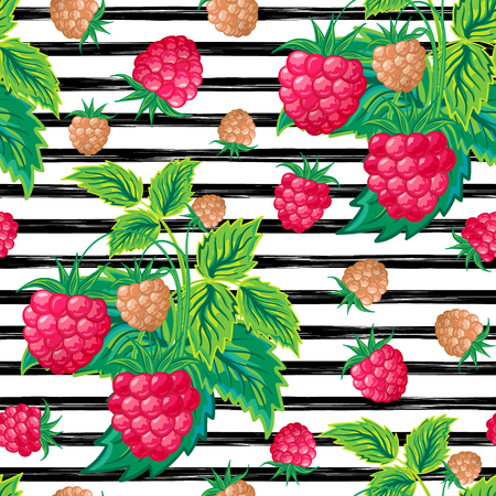 Seamless pattern with raspberry on strips. Summer background.