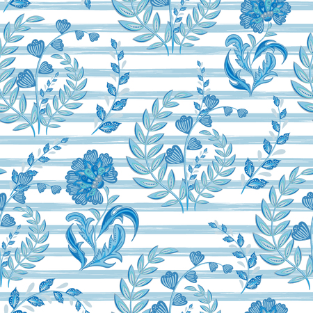 Seamless floral pattern with hand draw fantasy flowers on strip backdrop. Vector blue background Illustration