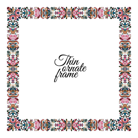 Pastel colors thin frame with floral ornament isolated on white background. Vector