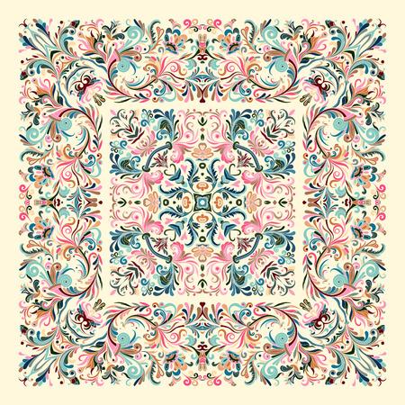装飾的なカラフルな背景、華やかなレースフレームと幾何学的な花の落書きパターン。バンダナショール、テーブルクロス生地プリント、シルクネックスカーフ、カーチーフデザイン。