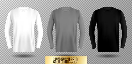 Three shades of white, gray and black long sleeve t-shirt. Vector mock up. Vettoriali