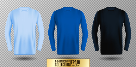 Three shades of light, normal and dark blue long sleeve t-shirt collection. Vector mock up