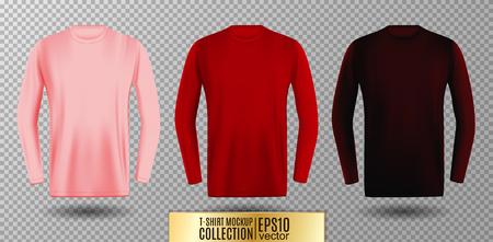 Three shades of pink red and vinous long sleeve t-shirt set. Vector mock up.