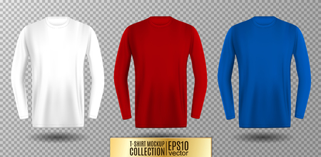 Three shades of white, red and blue long sleeve t-shirt. Vector mock up. Illustration