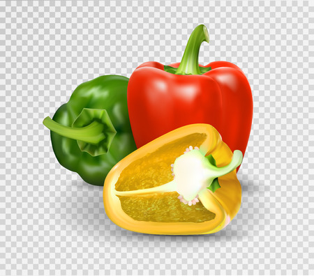 Photo-realistic vector. Red, green and yellow paprika. Whole Bulgarian pepper and half. 3d. Illustration