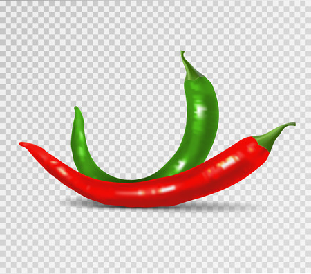 Vector Set of Red and Green Hot Chili Pepper Isolated on Transparent Background. Photo-realistic vector peppers collection.