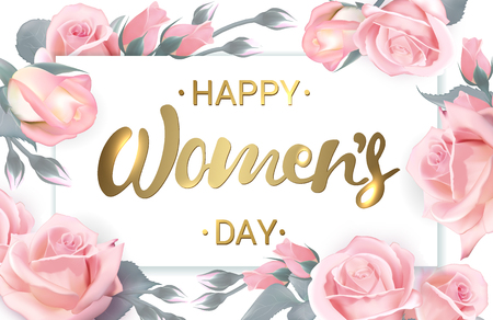 Happy Women's Day. Pink roses with golden lettering. Rose flower horizontal banner. Vector illustration. Illustration