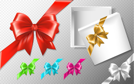 Set of multicolored bows with diagonally ribbons. Realistic vector collection