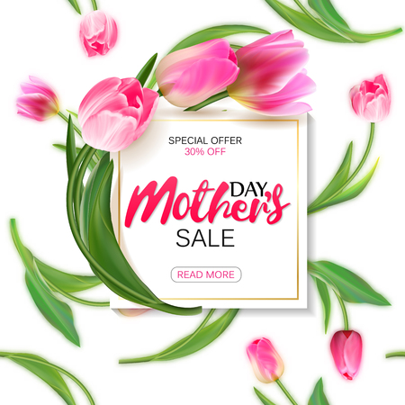 Mothers day sale shopping special offer holiday banner vector illustration. White plate with pink tulips on seamless tulips backdrop