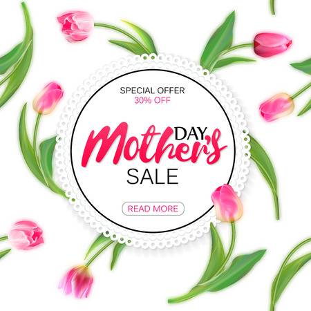 Mothers day sale offer banner template. Round frame with lettering on seamless tulips background. Mohters day sale tag. Shop market poster design. Vector illustration.
