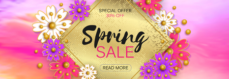 Spring sale banner with beautiful colorful flower Illustration