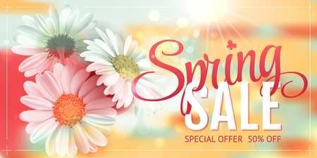 Spring sale concept. Orange background with chamomile and delicate green background. Template for banners, web, flyer, voucher. Vector illustration.
