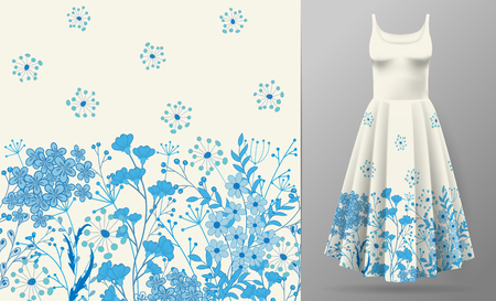 Cute pattern in small simple flowers. Seamless background and seamless border. An example of the pattern of the dress mock up. Vector illustration. Blue on white. Illustration