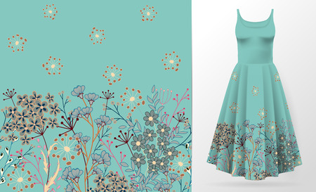Cute pattern in small simple flowers. Seamless background and seamless border. An example of the pattern of the dress mock up. Vector illustration. Blue and brown