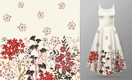 Cute pattern in small simple flowers. Seamless background and seamless border. An example of the pattern of the dress mock up. Vector illustration. Red black on white. Illustration