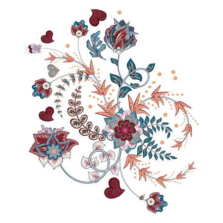Stock vector abstract hand draw flower. Doodle bouquet. Vector oriental or arabic, russia art background.