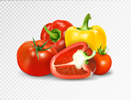 Photo-realistic vector. Red tomato and paprika vegetables. A set of products for a vegetable dish is lecho letscho lecso. Illustration