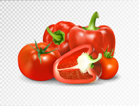 Photo-realistic vector Red tomato and paprika vegetables. Illustration
