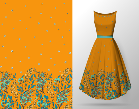 Seamless hand-drawn floral pattern with lots of plants and flowers. Vector seamless pattern on summer dress mock up. Blue on orange. Archivio Fotografico - 97555408