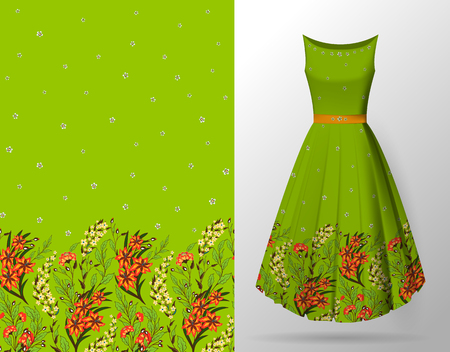 Seamless hand-drawn floral pattern with lots of plants and flowers. Vector seamless pattern on summer dress mock up. Orange on bright green.