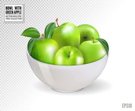 Green apples in white bowl, isolated on transparent background.