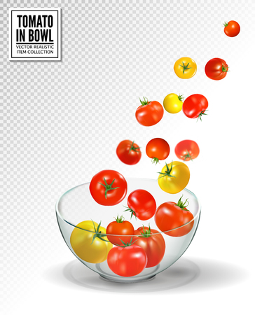 Tomatoes falling into glass bowl, isolated