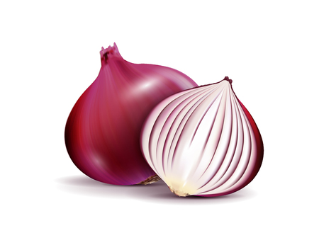 Whole and sliced red onion bulbs isolated on a white background