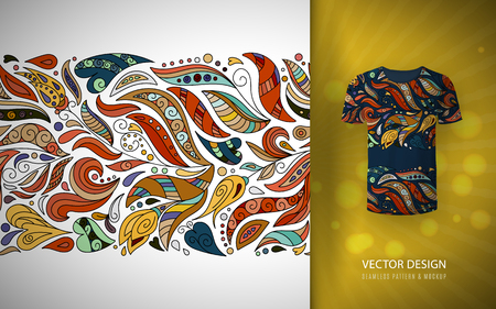 Seamless floral pattern on t-shirt mockup. Seamless border with hand draw fantasy flowers. Bright colorful doodle pattern