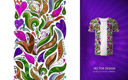 El estampado de flores en la camiseta se burla de la frontera sin costuras con flores de fantasía de dibujar a mano. Patrón de colorido brillante doodle. Ilustración de vector