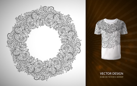 A doodle flower pattern in the form of a wreath, used for a pattern on a t-shirt vector hand draw circle frame made of flowers. Illusztráció