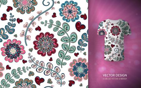 Floral seamless background fantasy flowers pattern, used on t-shirt mock up. Design for prints, wallpaper, textile vector illustration, blue pink.