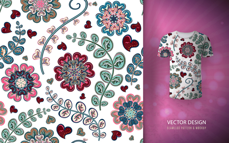 Floral seamless background fantasy flowers pattern, used on t-shirt mock up. Design for prints, wallpaper, textile vector illustration, blue pink.