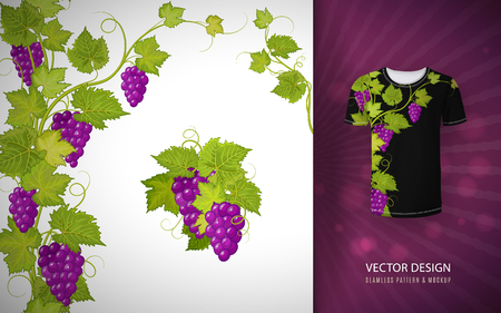 Vector design for shirts, blouses, T-shirt. Grapes branch. Colorful embroidery. Ilustrace