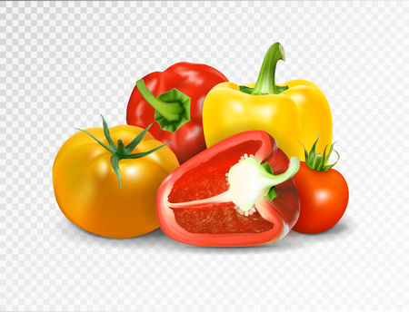 Photo-realistic vector. Red tomato and paprika vegetables. A set of products for a vegetable dish