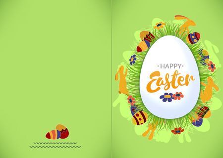 Ready for print Happy Easter green greeting card. Vector