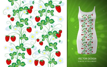 Strawberry vertical seamless borders . Vector illustration. Hand draw strawberry seamless border Illustration