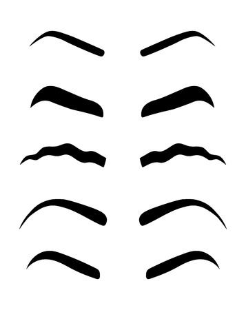 Types of women's eyebrows. Vector Illustration. Eyebrow waves. A new trend 2018. Stencil.