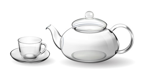 Set empty glass tea cup with teapot isolated on white Stock Photo