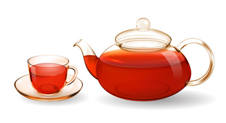 Transparent glass teapot and cup with tea isolated on white Stok Fotoğraf