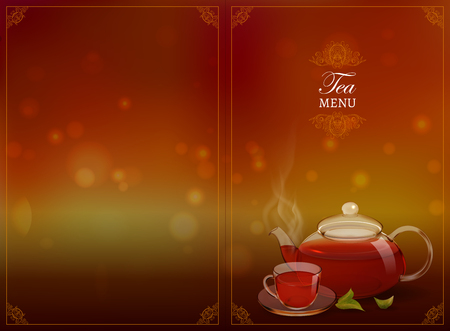 A glass teapot and a cup of tea on a colored background. Procurement for an advertising poster,  booklet, tea menu. Photo-realistic vector image.