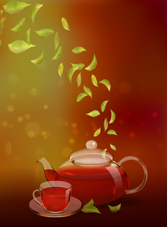 A glass teapot and a cup of black tea on a colored background. Procurement for an advertising poster, flyer, booklet, tea menu. Photo-realistic vector image.  イラスト・ベクター素材