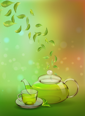 A glass teapot and a cup of green tea on a colored background. Procurement for an advertising poster,  booklet, tea menu. Photo-realistic vector image.